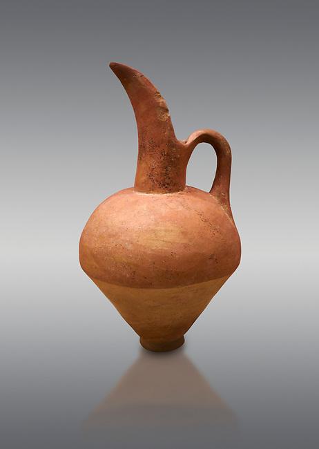 Hittite terra cotta beak spout pitcher. Hittite Old Period, 1650 - 1450 BC.  Hattusa Boğazkale. Çorum Archaeological Museum, Corum, Turkey