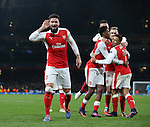Arsenal's Olivier Giroud celebrates his sides second goal during the Champions League group A match at the Emirates Stadium, London. Picture date November 23rd, 2016 Pic David Klein/Sportimage