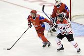 Dmitri Kulikov (Russia - 3), Vadim Zhelobnyuk (Russia - 1), Jordan Eberle (Canada - 14) - Canada defeated Russia 6-5 on Saturday, January 3, 2009, at Scotiabank Place in Kanata (Ottawa), Ontario during the 2009 World Junior Championship.