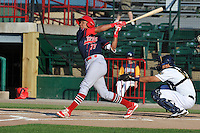 Peoria Chiefs Edmundo Sosa (37) swings during the Midwest League game against the Burlington Bees at Community Field on June 9, 2016 in Burlington, Iowa.  Peoria won 6-4.  (Dennis Hubbard/Four Seam Images)