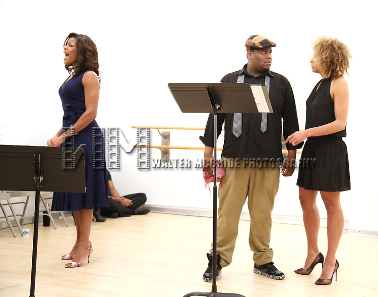 """Nicole Henry, Juson Williams  and Lana Gordon During the Open Rehearsal for the Miami New Drama's World Premiere Musical  """"A Wonderful World"""" at the Ripley-Grier Studios on January 26, 2020 in New York City."""