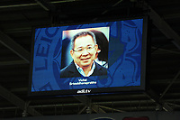 a photo of the late Vichai Srivaddhanaprabha is shown during the Premier League match between Cardiff City and Leicester City at Cardiff City Stadium in Cardiff, Wales, UK. Saturday 3rd November 2018