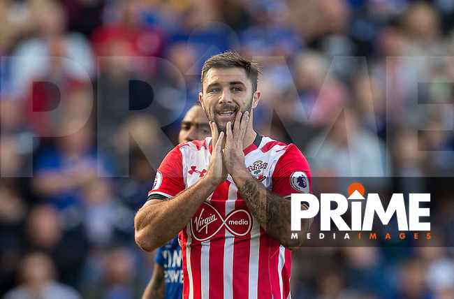 Charlie Austin of Southampton rues a missed opportunity during the Premier League match between Leicester City and Southampton at the King Power Stadium, Leicester, England on 2 October 2016. Photo by Andy Rowland.
