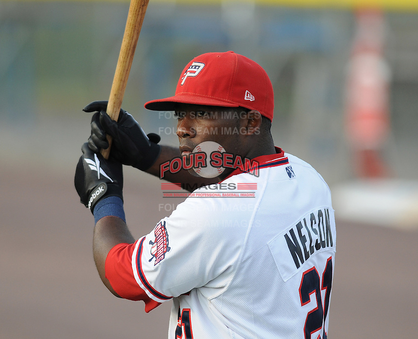 July 16, 2009: Infielder Dan Nelson (21) of the Potomac Nationals, Carolina League affiliate of the Washington Nationals, prior to a game at G. Richard Pfitzner Stadium in Woodbridge, Va. Photo by:  Tom Priddy/Four Seam Images