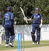 Cricket Scotland - Scotland V Namibia One Day International match at Grange CC today (Thur) - this match is the first of two ODI matches this week against Zimbabwe - Scotland's Craig Wallace acknowledges his 50, achieved in a 83 run partnership with Michael Leask who also made 50 in the game - picture by Donald MacLeod - 15.06.2017 - 07702 319 738 - clanmacleod@btinternet.com - www.donald-macleod.com