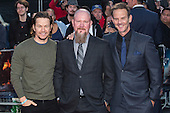 London, UK. 26 September 2016. L-R: Mark Wahlberg, Mike Williams and director Peter Berg. Red carpet arrivals for the European Premiere of the Hollywood movie Deepwater Horizon in Leicester Square. The movie is based on the 2010 Deepwater Horizon explosion and oil spill in the Gulf of Mexico. © Bettina Strenske/Alamy Live News