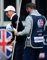 Matthew Fitzpatrick of England celebrates on the 18th green with caddie Tom Ridley following his victory during Round 4 of the 2015 British Masters at the Marquess Course, Woburn, in Bedfordshire, England on 11/10/15.<br /> Picture: Richard Martin-Roberts | Golffile