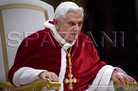 Pope Benedict XVI of St. Mary of Lourdes at the end of a Mass celebrated by Cardinal Camillo Ruini, for the 'World Day of the Sick' in St. Peter's Basilica at the Vatican....February 11, 2007..