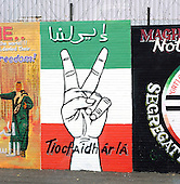 Belfast, Northern Ireland - August 14, 2005 -- Wall murals along Falls Road in Belfast, Northern Ireland on August 14, 2005.  Falls Road is in one of the Catholic neighborhoods in Belfast.  The murals reflect their political positions on many national and international issues.  This mural seems inclines to support the Palestinian cause..Credit: Ron Sachs / CNP