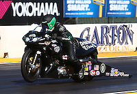 Jul. 25, 2014; Sonoma, CA, USA; NHRA pro stock motorcycle rider John Hall during qualifying for the Sonoma Nationals at Sonoma Raceway. Mandatory Credit: Mark J. Rebilas-