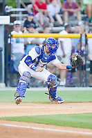 Burlington Royals catcher Chase Vallot (8) catches a throw at home plate during the game against the Johnson City Cardinals at Burlington Athletic Park on July 14, 2014 in Burlington, North Carolina.  The Cardinals defeated the Royals 9-4.  (Brian Westerholt/Four Seam Images)