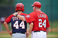 Washington Nationals Cutter Dykstra (44) and coach Matt LeCroy (24) during a minor league Spring Training game against the Detroit Tigers on March 28, 2016 at Tigertown in Lakeland, Florida.  (Mike Janes/Four Seam Images)