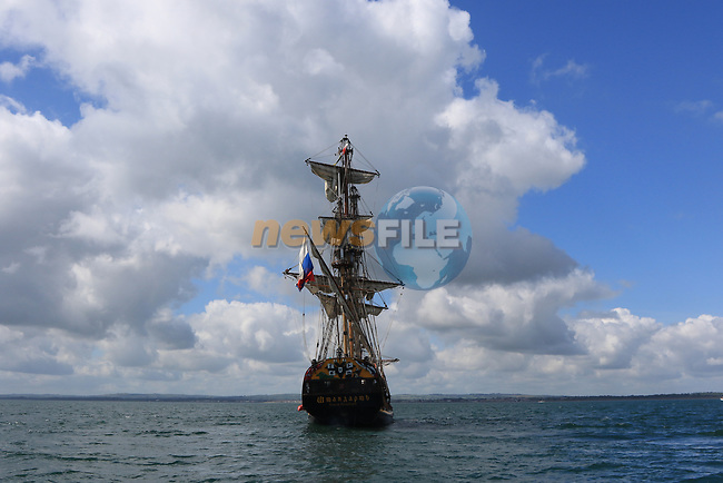As the Tall Ships proceed up the river Boyne to Drogheda for the Maritime Festival on Friday 9th June 2017.<br /> <br /> Photo by Thos Caffrey / Newsfile<br /> <br /> All photo usage must carry mandatory copyright credit     (&copy; Newsfile | Thos Caffrey)