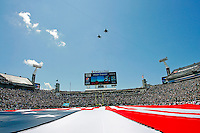 Sept 11, 2011:   Two F-15 Eagles fly over the American flag prior to the start of action between the Jacksonville Jaguars and the Tennessee Titans at EverBank Field in Jacksonville, Florida.   ........