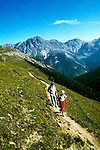 Switzerland: Hiking, Hikers, model released, Swiss National Park, Tavru Valley, photo: switze102 .Photo copyright Lee Foster, www.fostertravel.com, 510/549-2202, lee@fostertravel.com