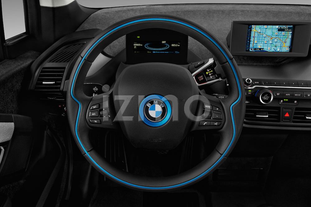 Car pictures of steering wheel view of a 2017 BMW I3 Deka-World 5 Door Hatchback Steering Wheel