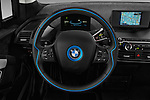 Car pictures of steering wheel view of a 2017 BMW I3 Deka-World 5 Door Hatchback Steering Wheel