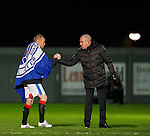 Mark Warburton congratulates hat-trick Rangers hero Kenny Miller at full time