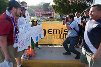 USA fans take photographs with Guatemalan fans before the United States played Guatemala at Estadio Mateo Flores in Guatemala City, Guatemala in a World Cup Qualifier on Tue. June 12, 2012.