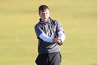 Joseph Byrne (Baltinglass) on the 11th fairway during Round 3 of the Ulster Boys Championship at Portrush Golf Club, Valley Links, Portrush, Co. Antrim on Thursday 1st Nov 2018.<br /> Picture:  Thos Caffrey / www.golffile.ie<br /> <br /> All photo usage must carry mandatory copyright credit (&copy; Golffile | Thos Caffrey)
