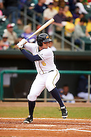 Montgomery Biscuits third baseman Richie Shaffer (8) at bat during a game against the Jackson Generals on April 29, 2015 at Riverwalk Stadium in Montgomery, Alabama.  Jackson defeated Montgomery 4-3.  (Mike Janes/Four Seam Images)