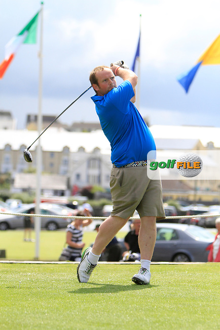Simon Bryan (Delgany) on the 1st tee during the South of Ireland Amateur Open Championship Second Round at Lahinch Golf Club  28th July 2013 <br /> Picture:  Thos Caffrey / www.golffile.ie