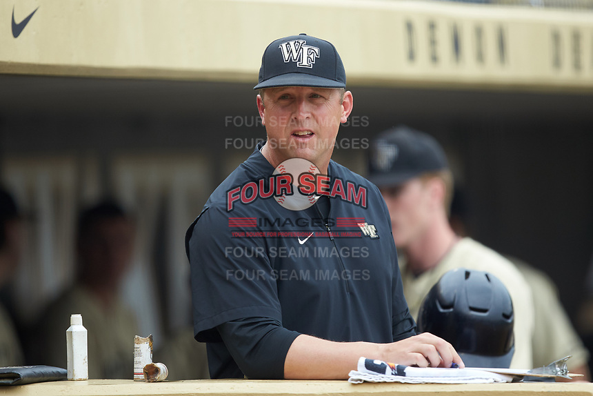 Wake Forest Demon Deacons assistant coach Bill Cilento (37) during the game against the Miami Hurricanes at David F. Couch Ballpark on May 11, 2019 in  Winston-Salem, North Carolina. The Hurricanes defeated the Demon Deacons 8-4. (Brian Westerholt/Four Seam Images)