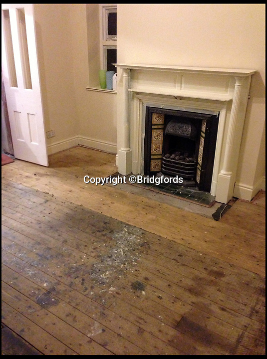 BNPS.co.uk (01202 558833)<br /> Pic: Bridgfords/BNPS<br /> <br /> Lowry's paint is still on the dining room floorboards that he used as a studio....<br /> <br /> Home is where the art is...Matchstick man LS Lowry's former home in Manchester could be yours - complete with his paint splattered floor boards in the dining room.<br /> <br /> The famous painter renowned for his matchstick men in urban landscapes lived in The Elms in Mottram, Greater Manchester, for 28 years until his death in 1976 and produced several important works in his studio in what is now the dining room.<br /> <br /> The Grade II listed house, which has a blue plaque dedicated to Lowry on the wall, is now on the market with Bridgfords for offers over £325,000.