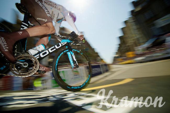 Biel Kadri (FRA) off the start podium<br /> <br /> Tour de France 2013<br /> stage 11: iTT Avranches - Mont Saint-Michel <br /> 33km
