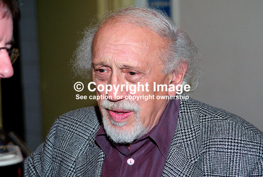 Solly Lipsitz, Lisburn, N Ireland, UK, Fine Art Consultant, Jazz Critic, musician, 199906012..Copyright Image from Victor Patterson, 54 Dorchester Park, Belfast, UK, BT9 6RJ..Tel: +44 28 9066 1296.Mob: +44 7802 353836.Voicemail +44 20 8816 7153.Skype: victorpattersonbelfast.Email: victorpatterson@mac.com.Email: victorpatterson@ireland.com (back-up)..IMPORTANT: If you wish to use this image or any other of my images please go to www.victorpatterson.com and click on the Terms & Conditions. Then contact me by email or phone with the reference number(s) of the image(s) concerned.