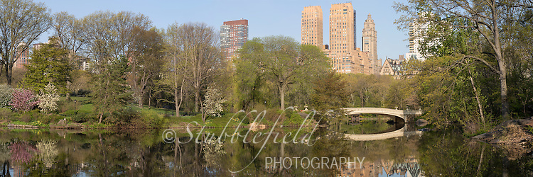 Panoramic of the Lake and Bow Bridge in Spring in New York City's Central Park.
