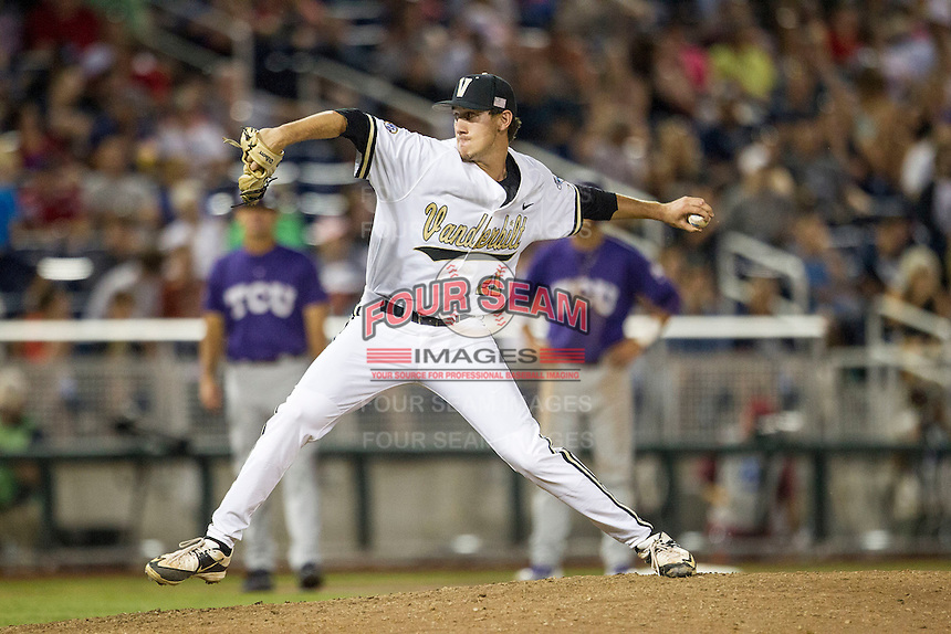 Vanderbilt Commodores pitcher John Kilichowski (21) delivers a pitch to the plate against the TCU Horned Frogs in Game 12 of the NCAA College World Series on June 19, 2015 at TD Ameritrade Park in Omaha, Nebraska. The Commodores defeated TCU 7-1. (Andrew Woolley/Four Seam Images)