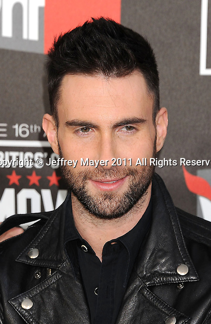 HOLLYWOOD, CA - January 14: Adam Levine of Maroon 5 arrives at the 16th Annual Critics' Choice Movie Awards at the Hollywood Palladium on January 14, 2011 in Hollywood, California.