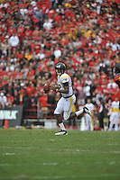 17 September 2011:  West Virginia QB Geno Smith (12) threw for 388 yards.  The West Virginia Mountaineers defeated the Maryland Terrapins 37-31 at Capital One Field at Byrd Stadium in College Park, MD..