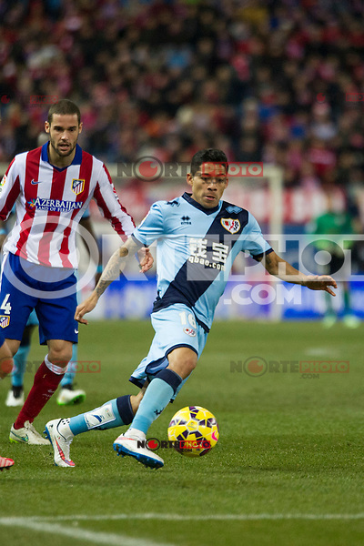 Atletico de Madrid&acute;s Mario Suarez and Rayo Vallecano&acute;s Javier Ignacio Aquino during 2014-15 La Liga match between Atletico de Madrid and Rayo Vallecano at Vicente Calderon stadium in Madrid, Spain. January 24, 2015. (ALTERPHOTOS/Luis Fernandez) /NortePhoto<br />