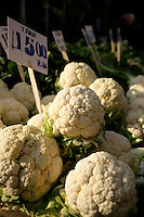 Cauliflowers for sale in a market, Turkey