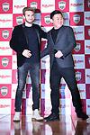 (L-R)  Sergi Samper (Vissel), Hiroshi Mikitani, <br /> MARCH 7, 2019 - Football : Vissel Kobe new signing player Sergi Samper during a press confrence in Tokyo, Japan. <br /> (Photo by MATSUO.K/AFLO SPORT)