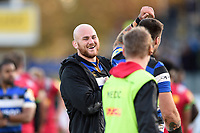 Matt Garvey of Bath Rugby is all smiles after the match. Aviva Premiership match, between Bath Rugby and Harlequins on November 25, 2017 at the Recreation Ground in Bath, England. Photo by: Patrick Khachfe / Onside Images