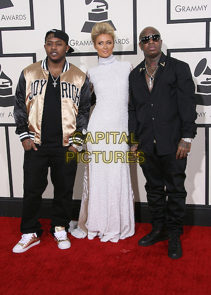 LOS ANGELES, CA - JANUARY 26 - Mack Maine, Paris Hilton and Birdman. 56th GRAMMY Awards held at the Staples Center. <br /> CAP/ADM<br /> &copy;AdMedia/Capital Pictures