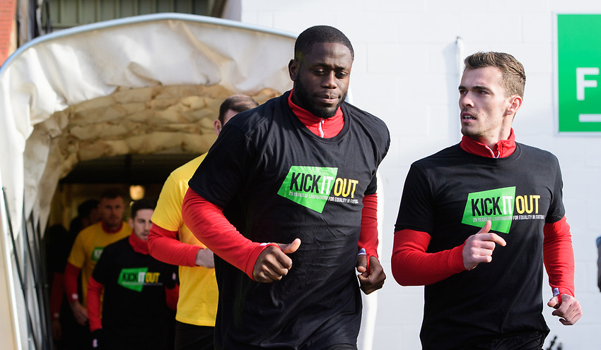 Lincoln City's John Akinde, left, and Lincoln City's Harry Toffolo during the pre-match warm-up<br /> <br /> Photographer Chris Vaughan/CameraSport<br /> <br /> The EFL Sky Bet League Two - Lincoln City v Northampton Town - Saturday 9th February 2019 - Sincil Bank - Lincoln<br /> <br /> World Copyright © 2019 CameraSport. All rights reserved. 43 Linden Ave. Countesthorpe. Leicester. England. LE8 5PG - Tel: +44 (0) 116 277 4147 - admin@camerasport.com - www.camerasport.com