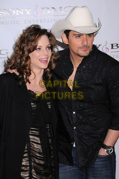 KIMBERLY WILLIAMS PAISLEY & BRAD PAISLEY.The 2008 Sony BMG Post Grammy Party held at The Beverly Hills Hotel in Beverly Hills, California, USA..February 10th, 2008 .half length black dress shirt cream cowboy hat stetson married husband wife .CAP/ADM/BP.©Byron Purvis/AdMedia/Capital Pictures.