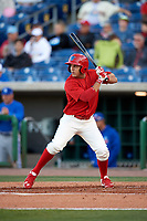 Clearwater Threshers shortstop Emmanuel Marrero (33) at bat during a game against the Dunedin Blue Jays on April 7, 2017 at Spectrum Field in Clearwater, Florida.  Dunedin defeated Clearwater 7-4.  (Mike Janes/Four Seam Images)