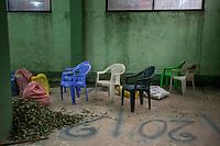 A pile of coca leaves is seen in front of empty chairs in the local coca market, in Entre Rios, Chapare province, Bolivia. November 27, 2019.<br /> Une pile de feuilles de coca est vue devant des chaises vides au marché local de la coca, à Entre Rios, province du Chapare, Bolivie. 27 novembre 2019.