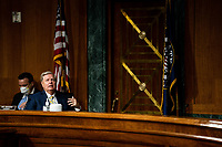 """United States Senator Lindsey Graham (Republican of South  Carolina), Chairman, US Senate Judiciary Committee speaks at a Senate Judiciary Committee Hearing """"to examine COVID-19 fraud, focusing on law enforcement's response to those exploiting the pandemic"""" on Capitol Hill in Washington, DC on June 9, 2020.<br /> Credit: Erin Schaff / Pool via CNP/AdMedia"""