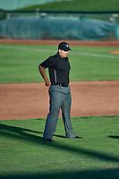 First base umpire Edgar Morales during the game between the Orem Owlz and the Ogden Raptors at Lindquist Field on September 2, 2017 in Ogden, Utah. Ogden defeated Orem 16-4. (Stephen Smith/Four Seam Images)