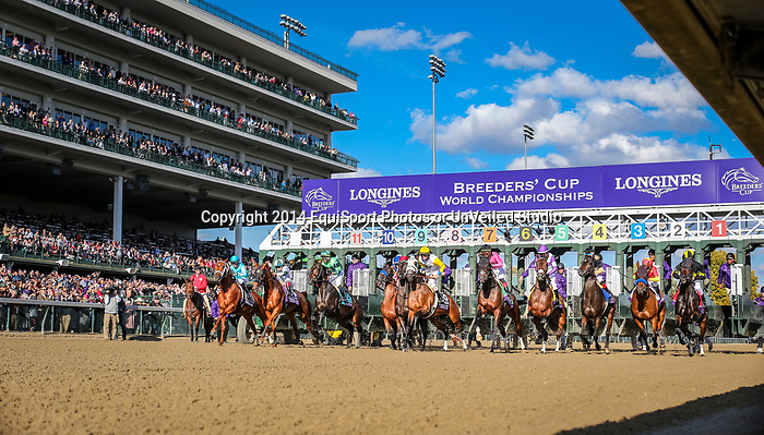 Monomoy Girl, (#11, Tapazar), Florent Geroux up, wins the BC Distaff at Churchill Downs 11.03.18. Brad Cox trainer, Dubb, M., Monomoy Stables, LLC, The Elkstone Group, LLC (Stuart Grant) and Bethlehem Stables LLC  owners.