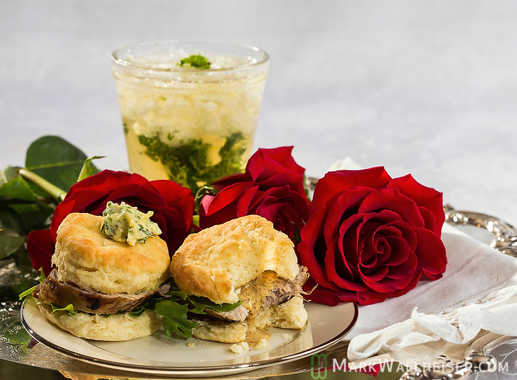 Pork tenderloin and biscuits with a lime mint julep for the Kentucky Derby by Chef Josh Cooper in Tallahassee, Florida.