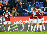 Burnley players celebrate after Dwight McNeil made it 2-0<br /> <br /> Photographer Alex Dodd/CameraSport<br /> <br /> The Premier League - Burnley v West Ham United - Sunday 30th December 2018 - Turf Moor - Burnley<br /> <br /> World Copyright © 2018 CameraSport. All rights reserved. 43 Linden Ave. Countesthorpe. Leicester. England. LE8 5PG - Tel: +44 (0) 116 277 4147 - admin@camerasport.com - www.camerasport.com