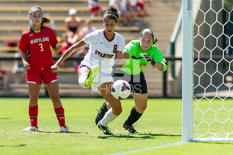 September 8, 2013: Ryan Walker-Hartshorn scores a goal during the Stanford vs Maryland women's soccer match in Stanford, California.  Stanford won 3-0.