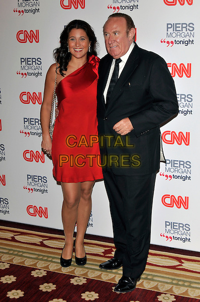 GUEST & ANDREW NEIL .attending the launch of 'Piers Morgan Tonight' on CNN at Mandarin Oriental Hyde Park, London, England, UK, December 7th, 2010..full length red one shoulder dress suit tie black .CAP/PL.©Phil Loftus/Capital Pictures.